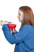 Kvinna äta — Stockfoto