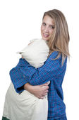 Woman Hugging Pillow — Stock Photo