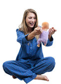 Beautiful Woman and baby Doll — Stock Photo