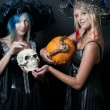 Witches with Snake and Skull — Stock Photo