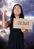 Woman Holding Jesus Sign — Stock Photo
