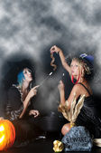 Witches with Snake — Stock Photo