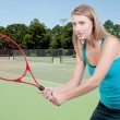 Woman Playing Tennis — Stok fotoğraf