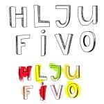 Letters H, L, J, U, F, I, V, O — Stock Vector