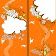 Two banner with floral element — Imagen vectorial