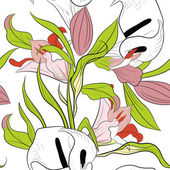 Seamless pattern with lily flowers — Stok Vektör
