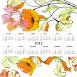 Template for calendar 2012 with flowers — Stock Vector