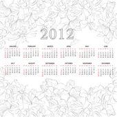 Template for calendar 2012 with flowers — Stockvektor