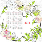 Template for calendar 2012 with flowers — Vector de stock