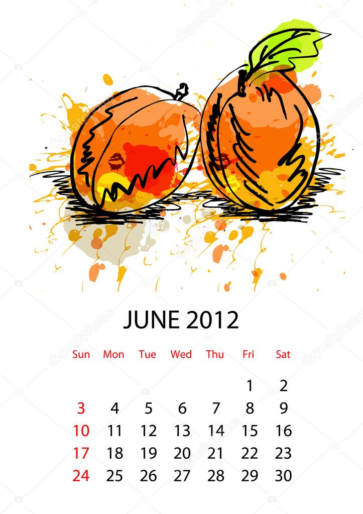 Calendar with fruit for 2012, june — Stock Vector #6374508