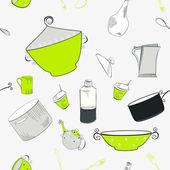 бесшовные обои с посудой — Cтоковый вектор