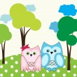 Vector cute wise owls fallen in love — Stock Vector