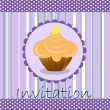 Royalty-Free Stock Vector Image: Vector invitation wiht cake on decorative background
