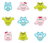 Set of vector cute wise owls on white background — Stock Vector