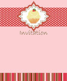 Vector invitation wiht cake on decorative background — Stock Vector