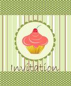 Invitación de vector con pastel sobre fondo decorativo — Vector de stock