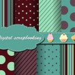 Royalty-Free Stock Vektorov obrzek: Set of flower vector paper for scrapbook with cake
