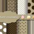 Set of flower vector paper for scrapbook with cake - Stock Vector