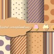 Set of flower vector paper for scrapbook with cake — Stock Vector