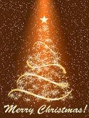 Stylized Christmas tree on decorative background — Stock Vector