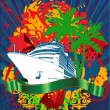 Ocean Cruise Liner Splash And Green Banner — Imagen vectorial