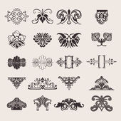 Set Of 20 One Color Ornate Design Elements — Stock Vector