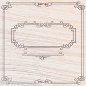 Vector Elegant Old Style Inlay Wood Frame — Stock Vector