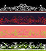 Set Of Four Color Border Design Elements — Stock Vector