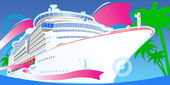 Color Luxury Cruise Big Boat. — Stock Vector