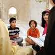 Stock Photo: Muslim arabic pupils group education