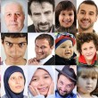 Collage of lots of different cultures and ages, common with different expressions — Stock Photo #6150072