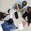 Creative group of students sitting and working together — Stock Photo #6150233