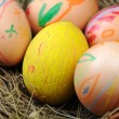 Easter colorful eggs in basket — Stock Photo