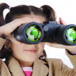 Little girl with binoculars, earth globe in glasses — Stock Photo