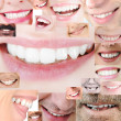 Human healthy teeth smile collage — Stock Photo