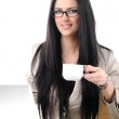 Pretty office worker have coffee break, isolated on white — Stock Photo
