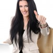 Businesswoman on desk with laptop, thum up — Stock Photo #6150345