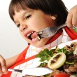 Stock Photo: Kid refusing eating food