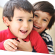 Stock Photo: Two happy brothers, happiness, playing, togetherness, laugh, fun, childhood