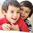 Foto de Stock  : Two happy brothers, happiness, playing, togetherness, laugh, fun, childhood