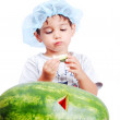 Cute kid eating water melon — Stock Photo #6150661
