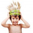 Boy with wheat hat on head — Stock Photo #6150663