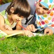 Mother with son, education in nature, laying on grass with notebook — Stock Photo