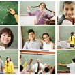 School concept, children and teacher in classroom - collage. Look for more - Stock Photo