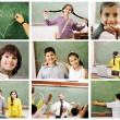 School concept, children and teacher in classroom - collage. Look for more — Stock Photo #6150792