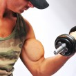 Bodybuilder strong as a rock — Stock Photo