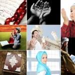 bela coleção de Islã, colagem de várias fotos, muçulmano e th — Foto Stock