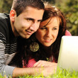 Royalty-Free Stock Photo: An attractive man and woman couple in the park on laptop computer