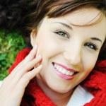 Detailní portrét krásné podzimní ženy — Stock fotografie