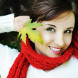 Foto Stock: Close-up portrait of an beautiful autumn woman